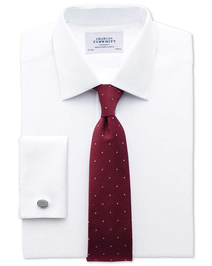 Extra slim fit Pima cotton herringbone white shirt