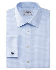 Extra slim fit non-iron Windsor check sky shirt