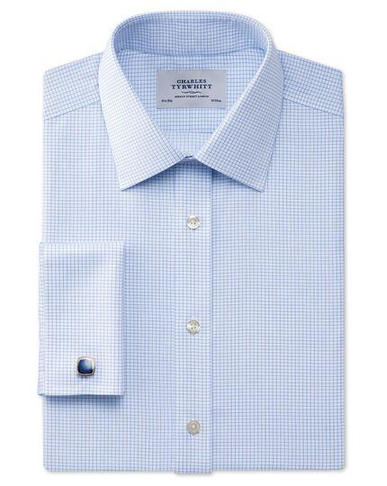 Extra slim fit non-iron Windsor check sky blue shirt