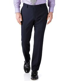 Dark blue stripe slim fit flannel business suit trousers