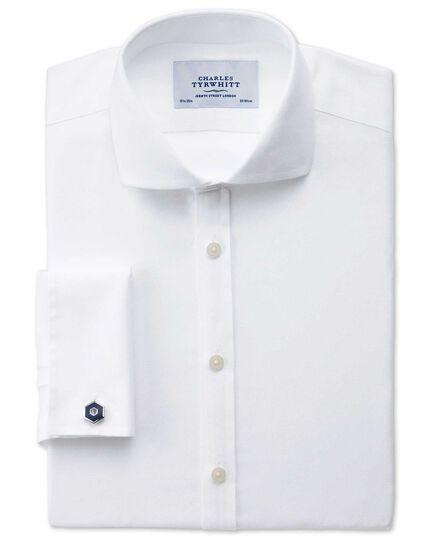 Extra slim fit spread collar non-iron mini herringbone white shirt