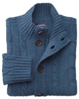 Gilet bleu indigo en laine d'agneau à torsades