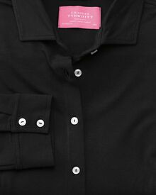 Slim Fit Jersey Stretch-Bluse in schwarz