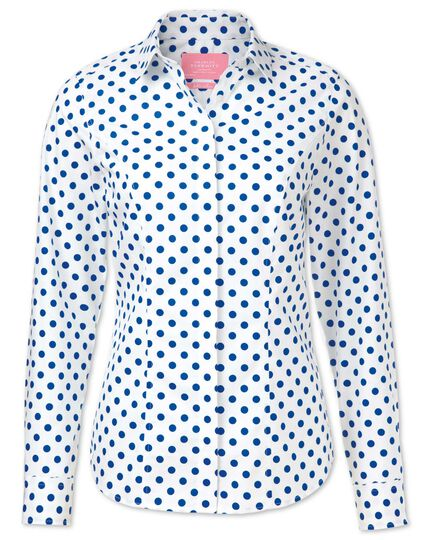 Women's semi-fitted non-iron cotton spot printed royal blue shirt