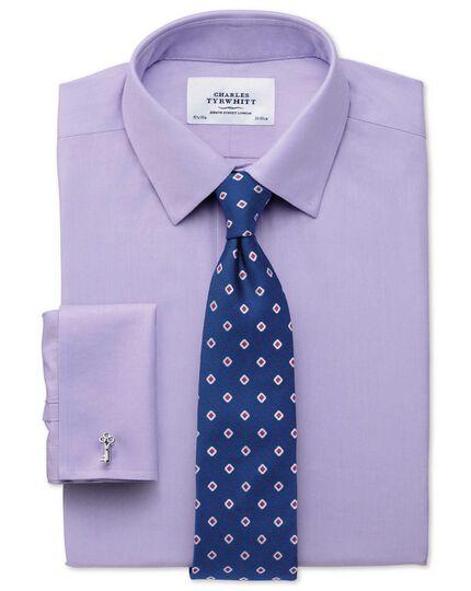 Slim fit non-iron twill lilac shirt