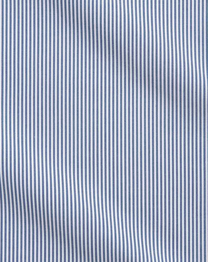 Chemise business casual bleue à rayures slim fit sans repassage à col boutonné