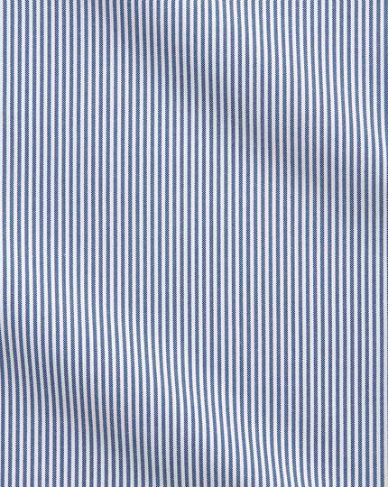 Bügelfreies Slim Fit Business-Casual Hemd mit Button-down Kragen in Blau mit Streifen