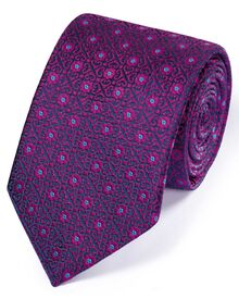 Magenta silk English luxury geometric tie