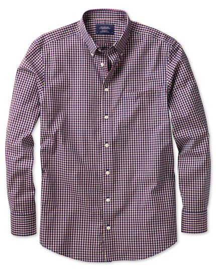 Slim fit non-iron poplin navy and berry check shirt
