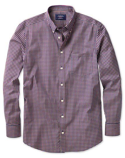 Bügelfreies Slim Fit Hemd aus Popeline in Marineblau und BeerenRot mit Karos