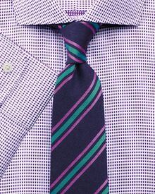 Classic fit spread collar star weave purple shirt
