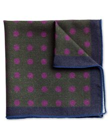 Brown and pink wool spot pocket square