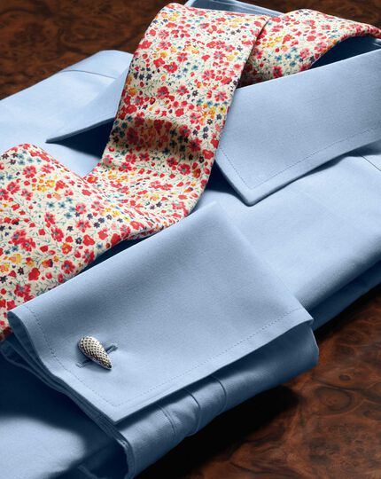 Slim fit end-on-end sky blue shirt