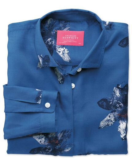 Women's semi-fitted royal blue painted flower print blouse
