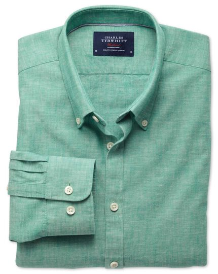 Extra slim fit green chambray shirt
