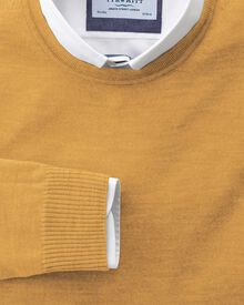 Yellow merino wool crew neck jumper