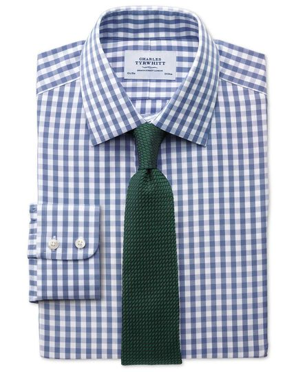 Classic fit non-iron Oxford gingham mid blue shirt
