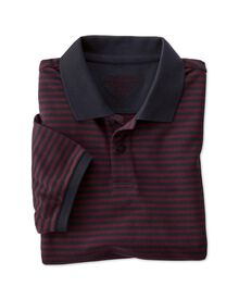 Classic fit navy and wine striped pique polo shirt