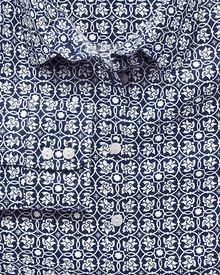 Women's semi-fitted cotton linen geometric print navy shirt