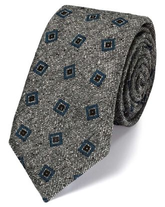Grey and blue silk mix printed Donegal luxury tie