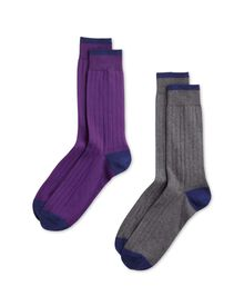 Grey and purple cotton rich ribbed 2 pack socks