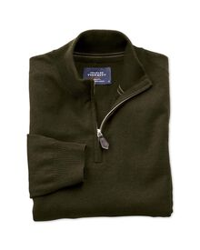 Forest green cotton cashmere zip neck jumper