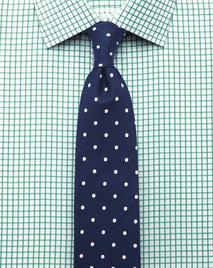 Extra slim fit twill grid check green shirt