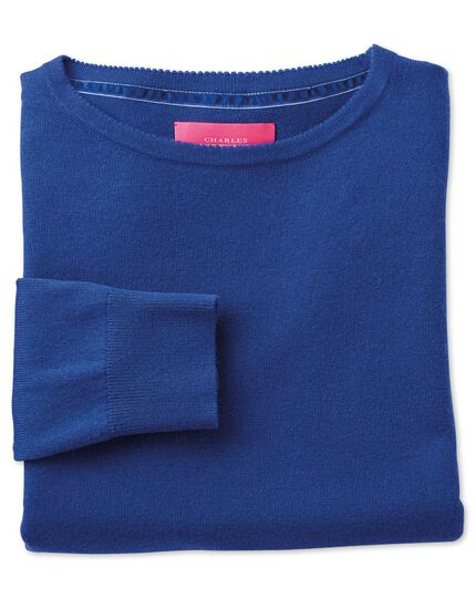 Royal blue merino cashmere long line sweater