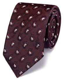 Slim burgundy silk paisley luxury tie