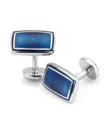 Navy enamel textured rectangle cufflink