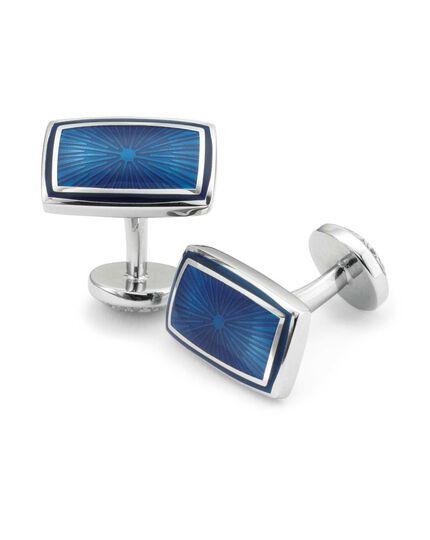Manschettenknöpfe aus Emaille mit rechteckigem, strukturiertem Design in Marineblau