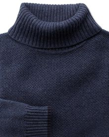 Indigo merino cotton roll neck jumper