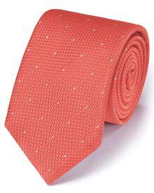 Coral silk classic textured dash tie