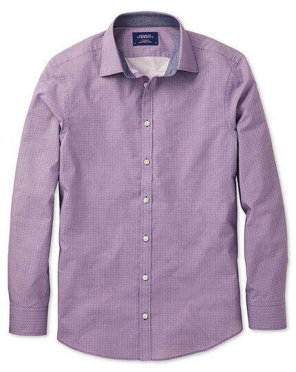 Extra Slim Fit Hemd in Blau und Weiß mit geometrischem Print in Magenta und Blau mit Print