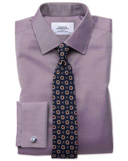 Bügelfreies Classic Fit Twill-Hemd in Dunkelviolett