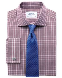 Slim fit Prince of Wales basketweave berry shirt