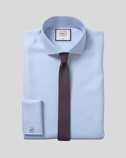 Extra slim fit cutaway non-iron puppytooth sky blue shirt