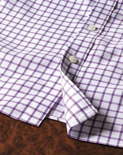 Extra slim fit non-iron twill grid check purple shirt