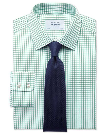 Slim fit twill grid check green shirt