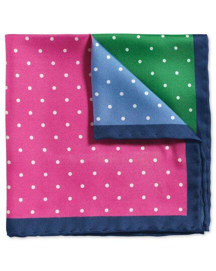Bright multi classic printed spot quarter pocket square