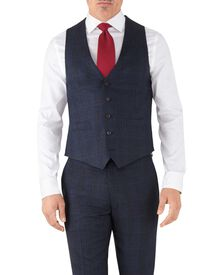 Blue Prince of Wales adjustable fit flannel business suit waistcoat