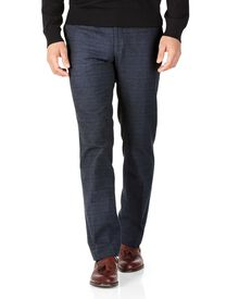 Indigo slim fit cotton flannel check trousers