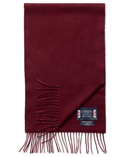 Burgundy herringbone cashmere and merino scarf
