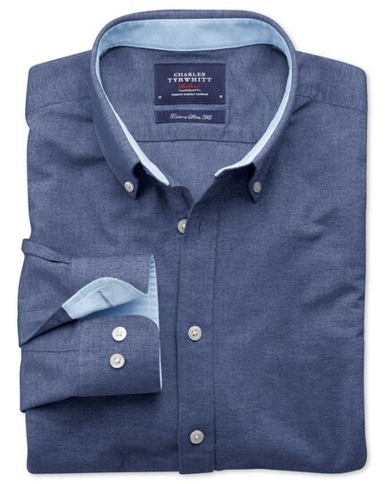 Extra slim fit denim blue washed Oxford shirt