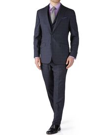 Blue check slim fit flannel business suit