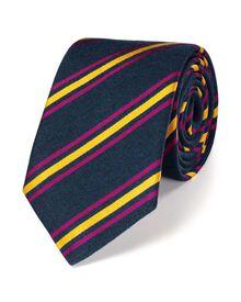 Navy and gold luxury wool stripe tie
