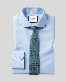 Slim fit spread collar non iron bengal stripe sky blue shirt