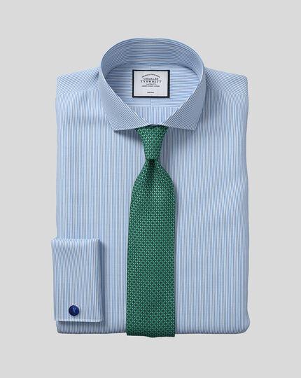 Slim fit cutaway collar non iron bengal stripe sky blue shirt