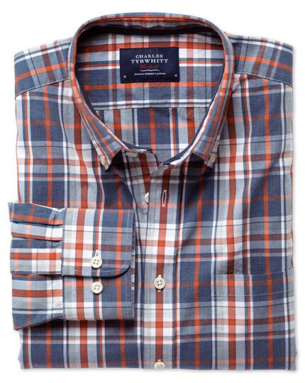 Classic fit blue and orange check washed shirt