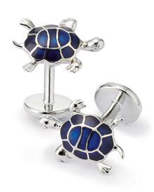 Navy and silver turtle cuff links